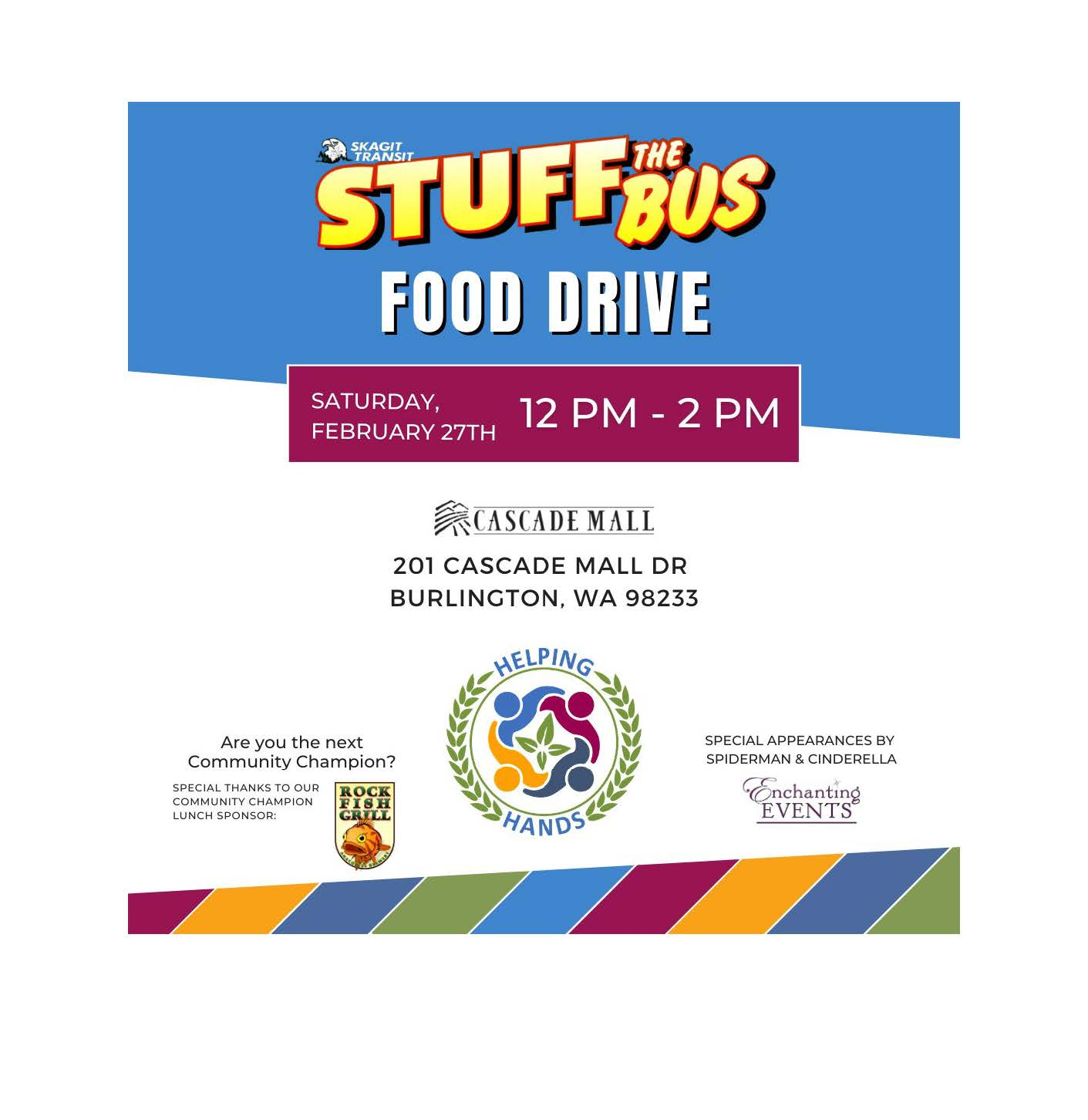 Helping Hands Stuff the Bus Food Drive social notice