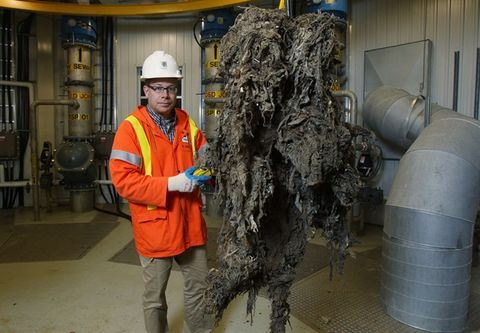 Employee with Flushable Wipes Clogged